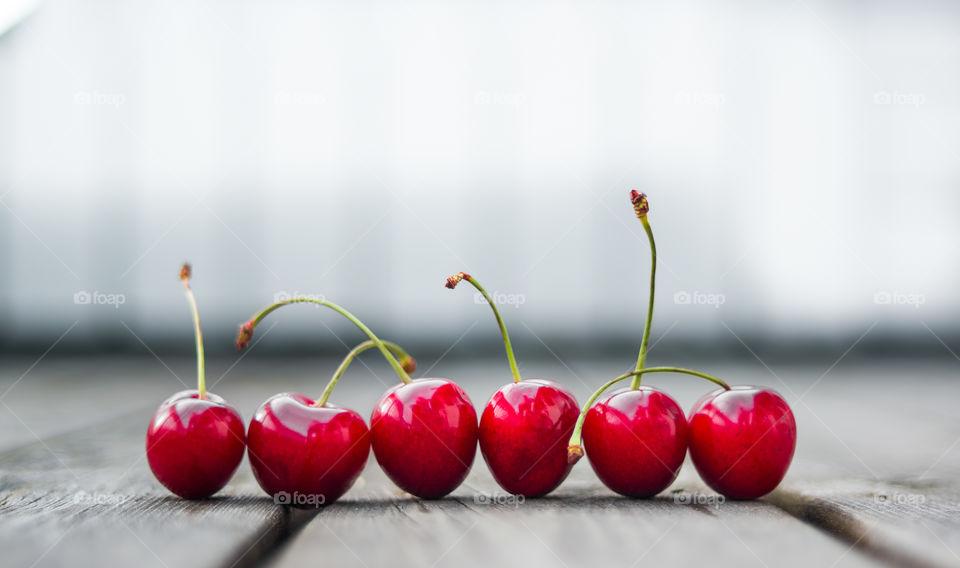 Close-up of fresh red cherries