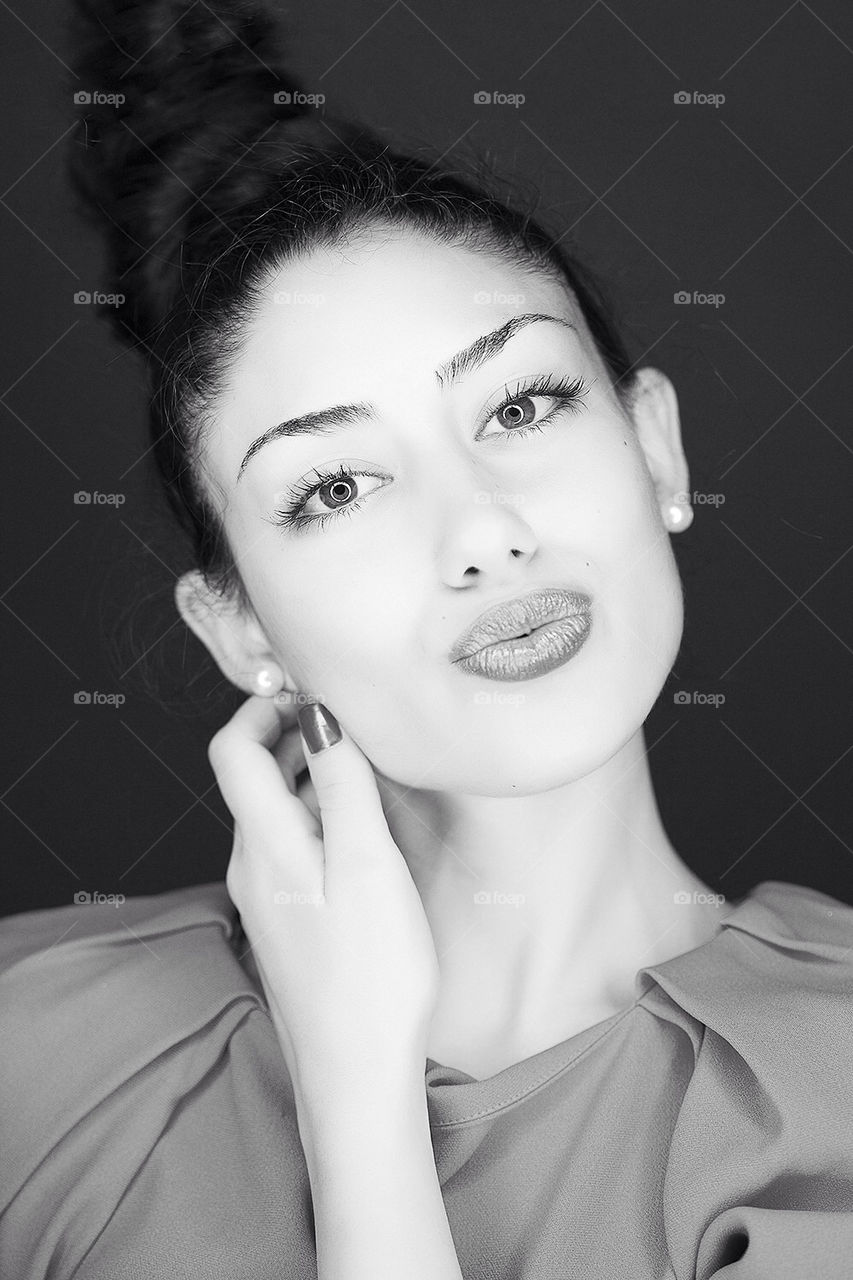 Kiss from a lady   woman, eyes, hair, style