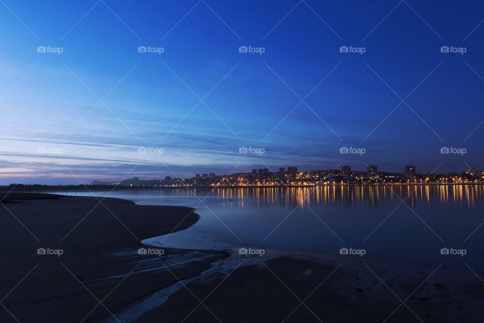Night falling over Porto, Portugal.