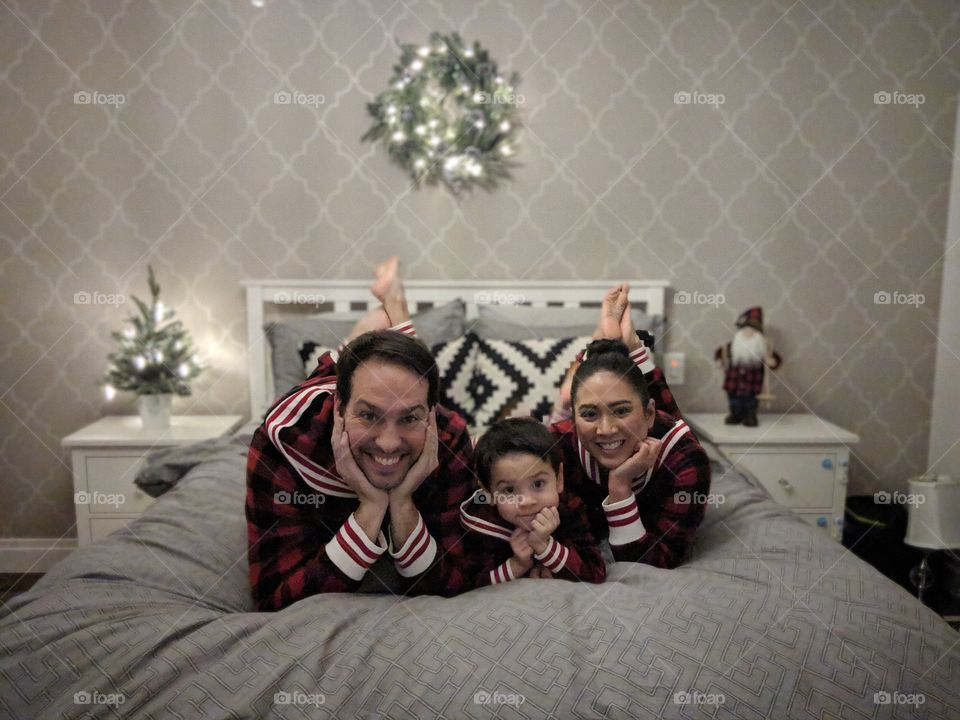 Happy holiday with our family matching PJ's in our bedroom and our IKEA furniture