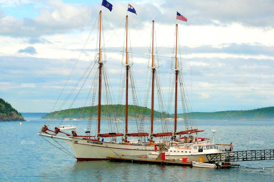 Tall ship. Tall sail ship at the Bar Harbor, Maine port of call awaiting arrivals and departures!