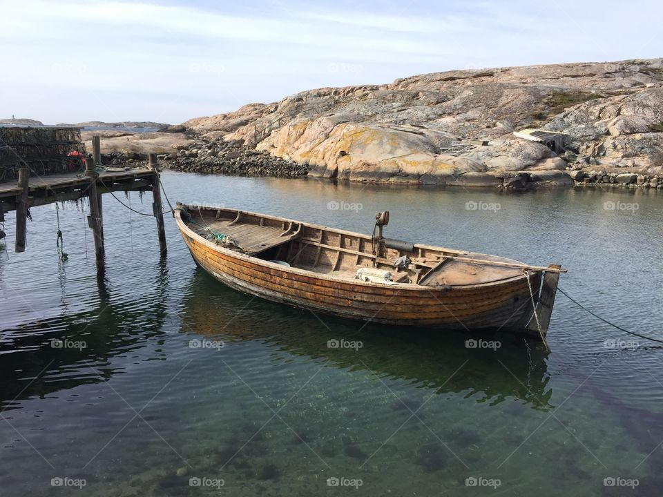Empty nautical vessel near pier
