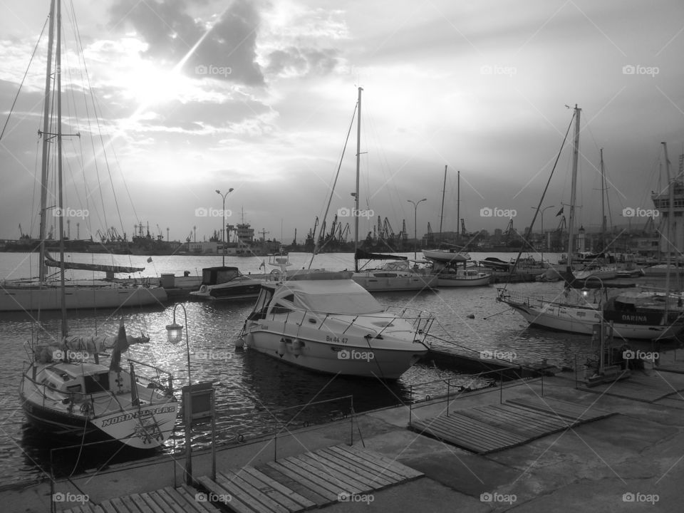 Twilight at the port. Calm evening before the storm in the port of Varna.