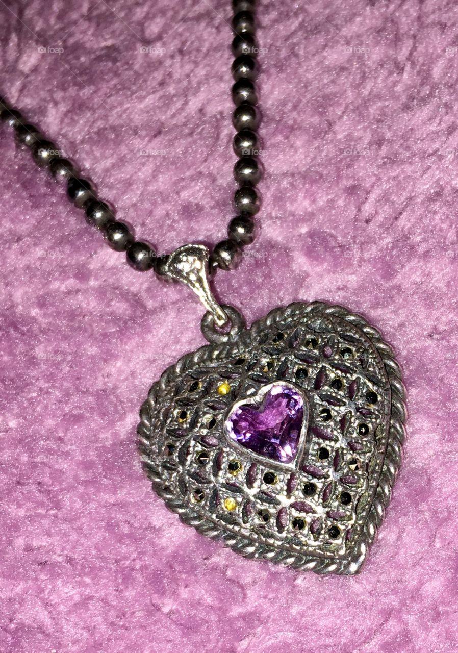 amethyst in silver heart