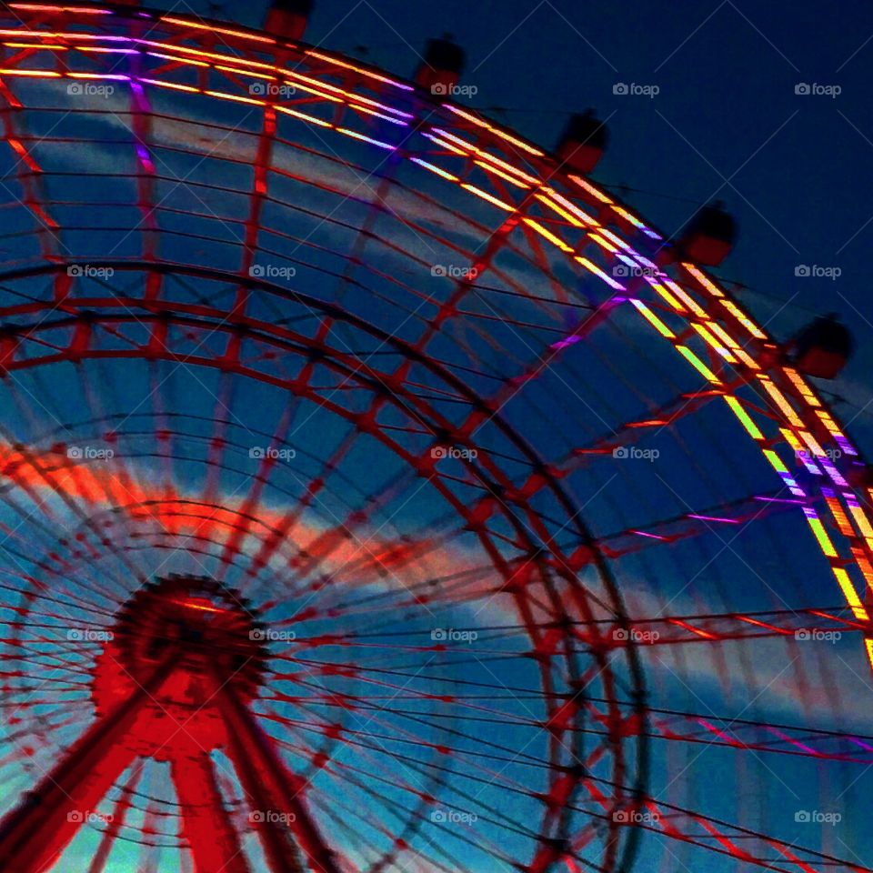 Electric Ferris wheel. Made my boyfriend turn the car around because the sun just set and the colors were coming to life for the night