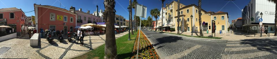 Panorama on one of Cascais streets