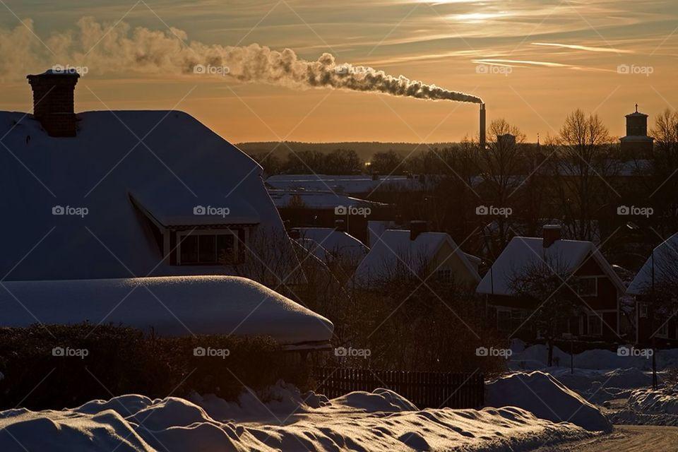 snow winter city sunset by cekari