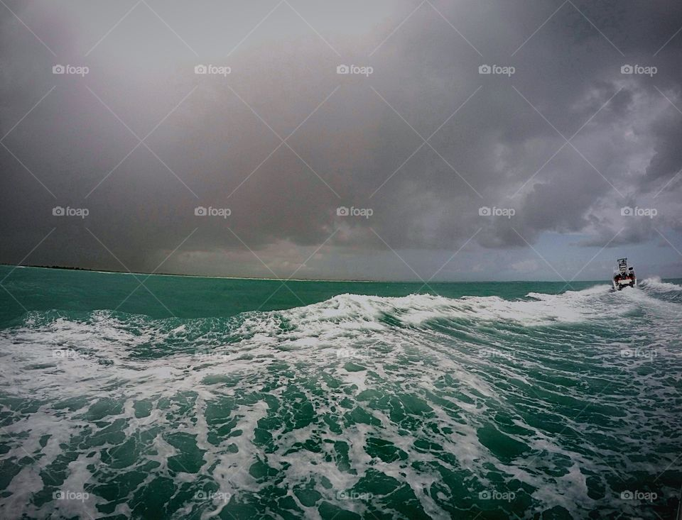 Scenic view of sea in stormy weather