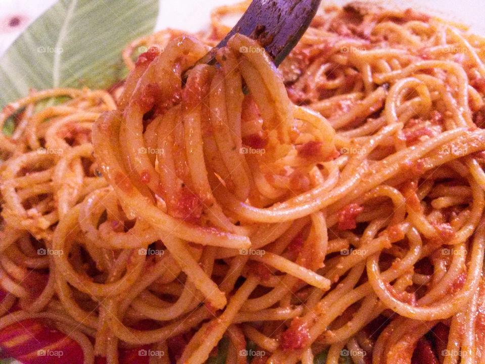 italian spaghetti in red tomato sauce