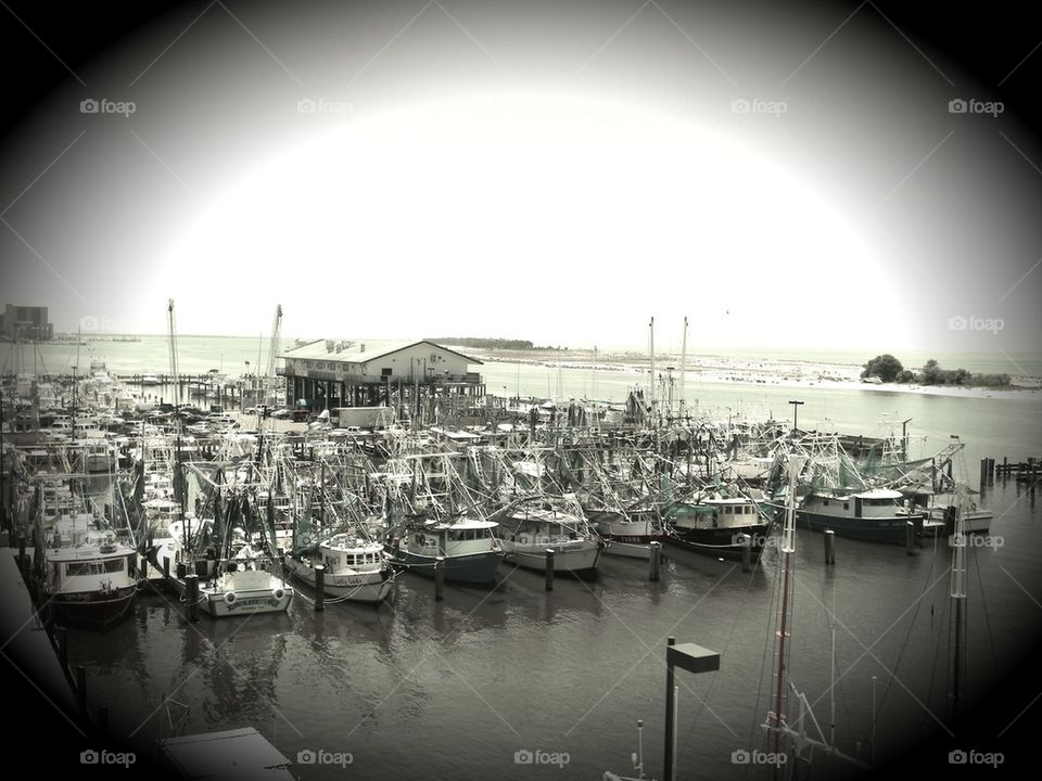 The fishing village. A fleet of fishing boats in Biloxi Mississippi