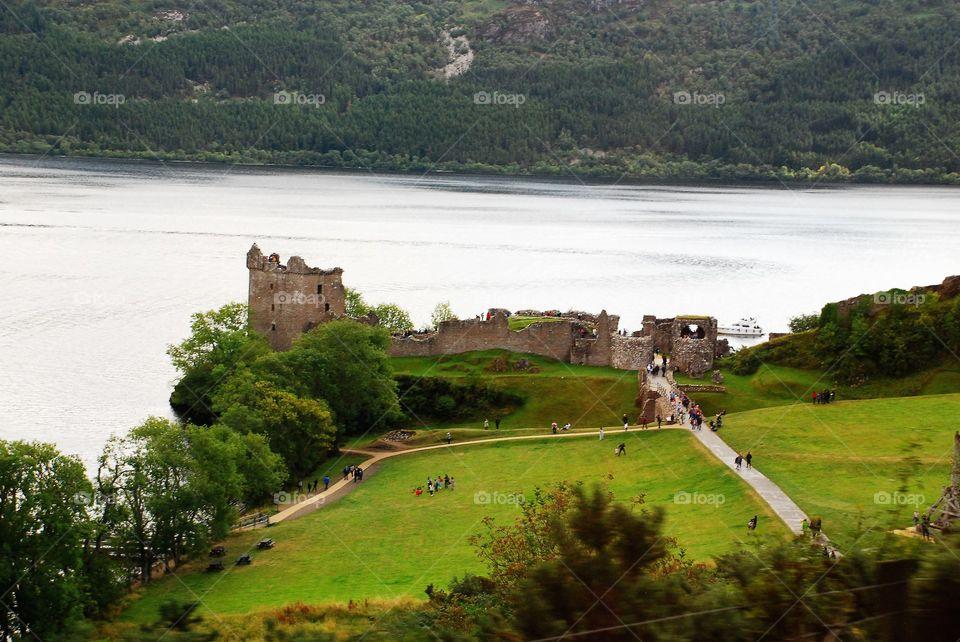 Castle ruins in Scotland by Loch Ness