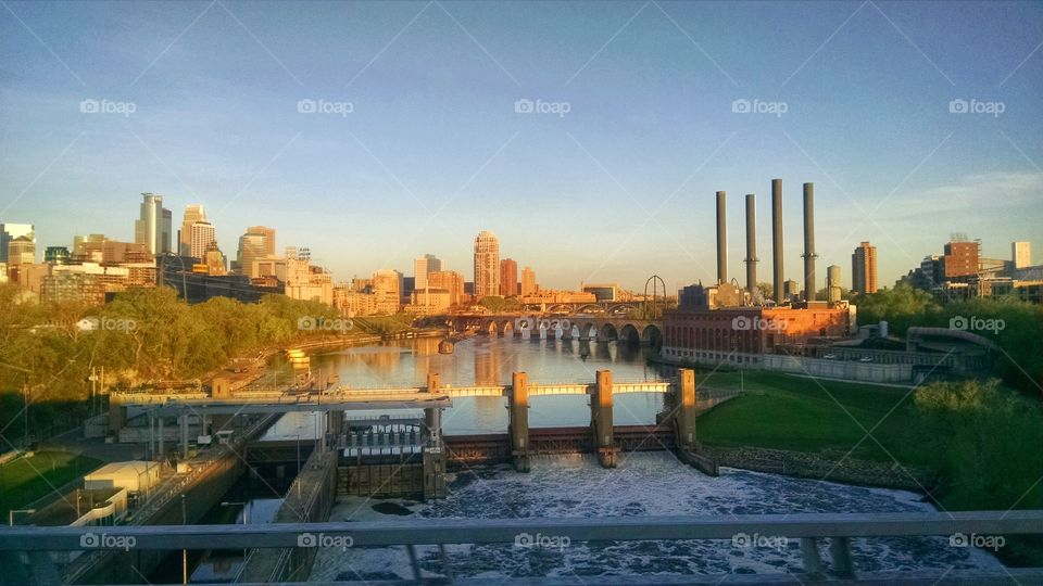 Stone Arch Bridge, . Taken early in the morning from the 35W Bridge across the Mississippi River