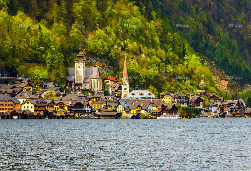 Scenic view of Hallstatt village against mountains