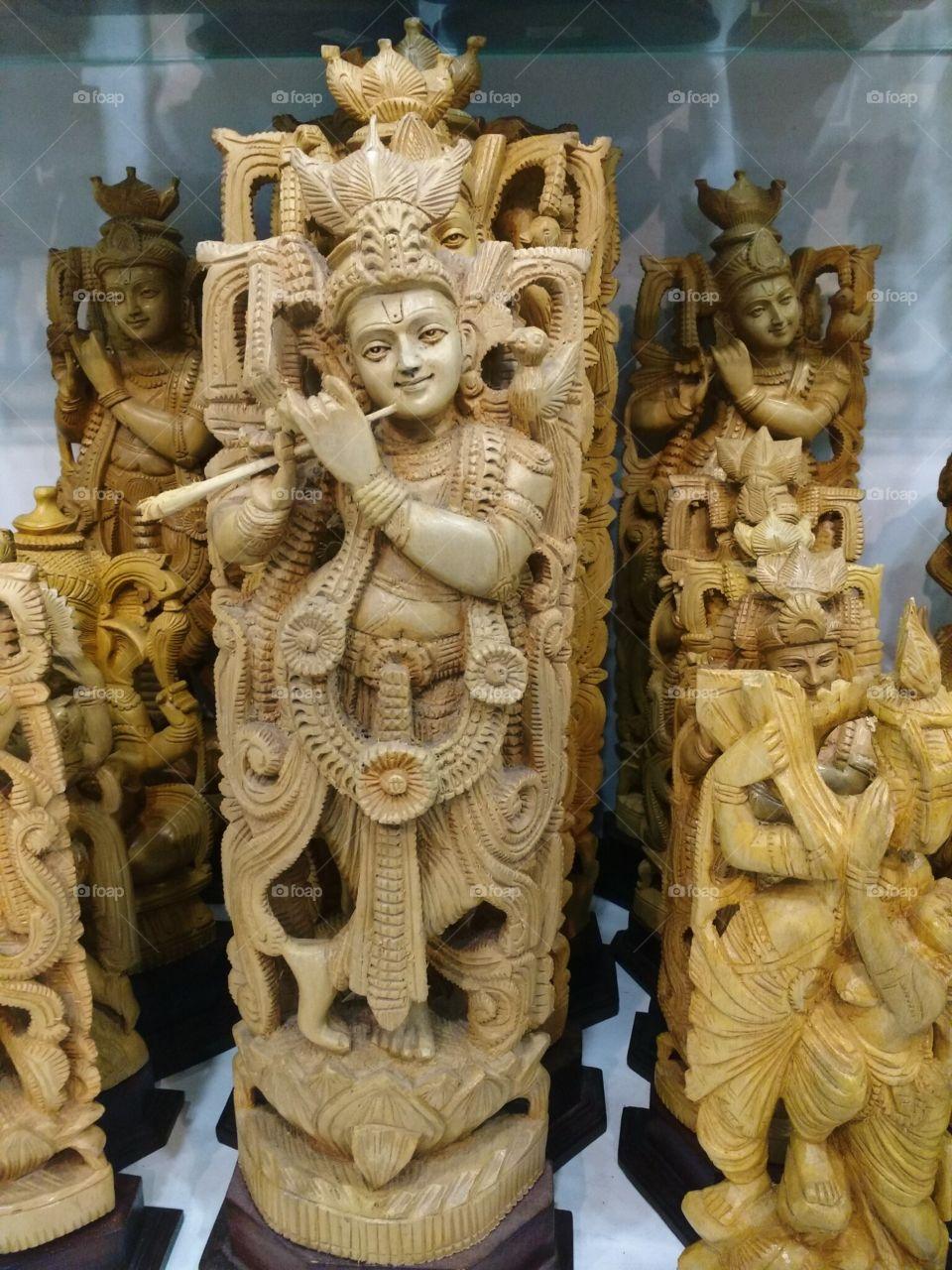 Sree krishna - wooden statue