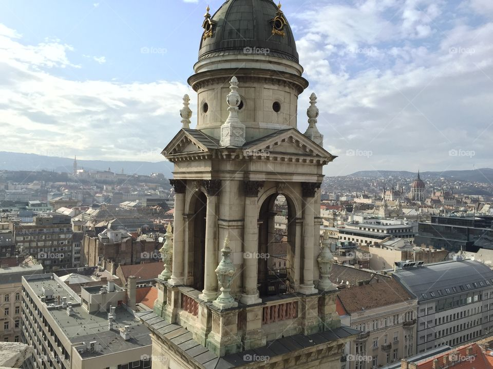 From above the Basilica. The photo was taken from the roof of the St. Stephen's Basilica in Budapest, Hungary.
