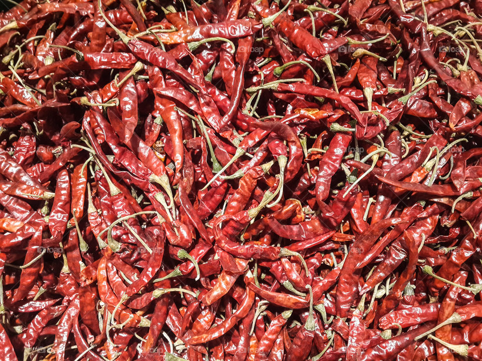Dried red chilli. Dried red chilli in Thai-food market.