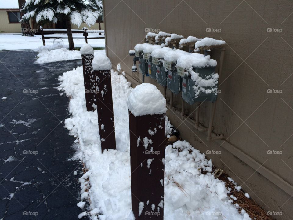 Gas meters under the snow