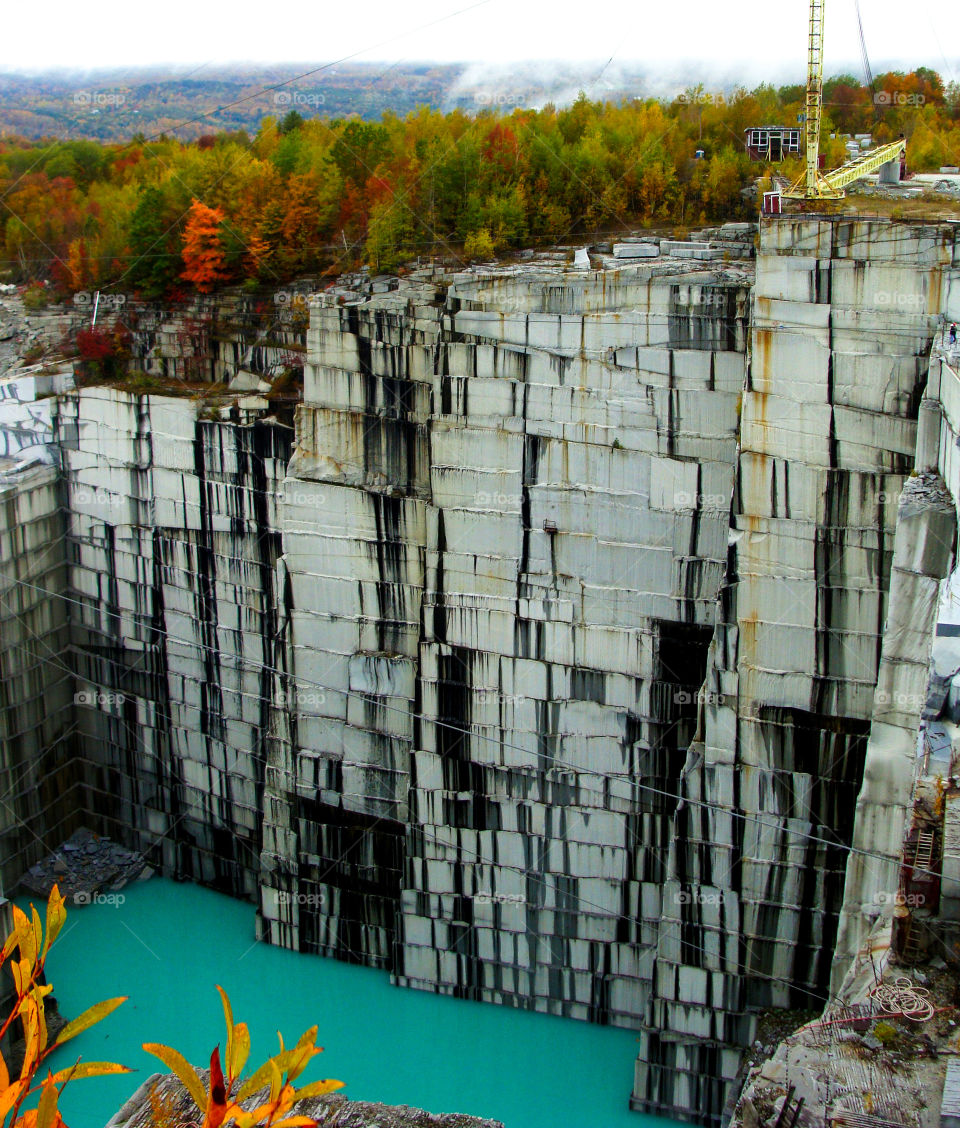 Autumn view of the Rock of Ages granite quarry in Barre, Vermont.