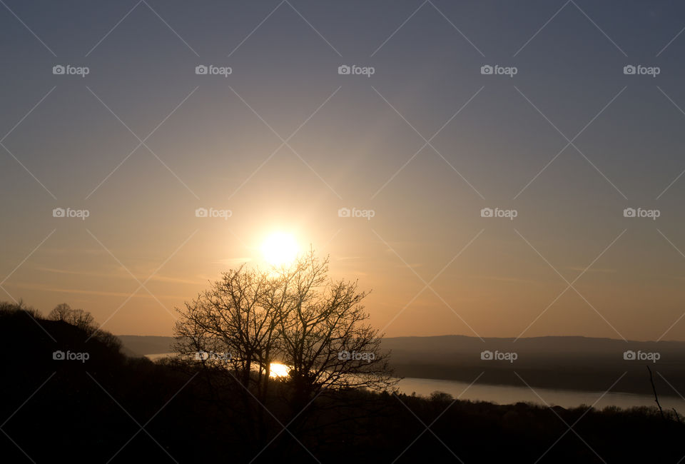 Beautiful sunset on Danube River. Orange color of the sky. Reflection on the river. Sun and tree.