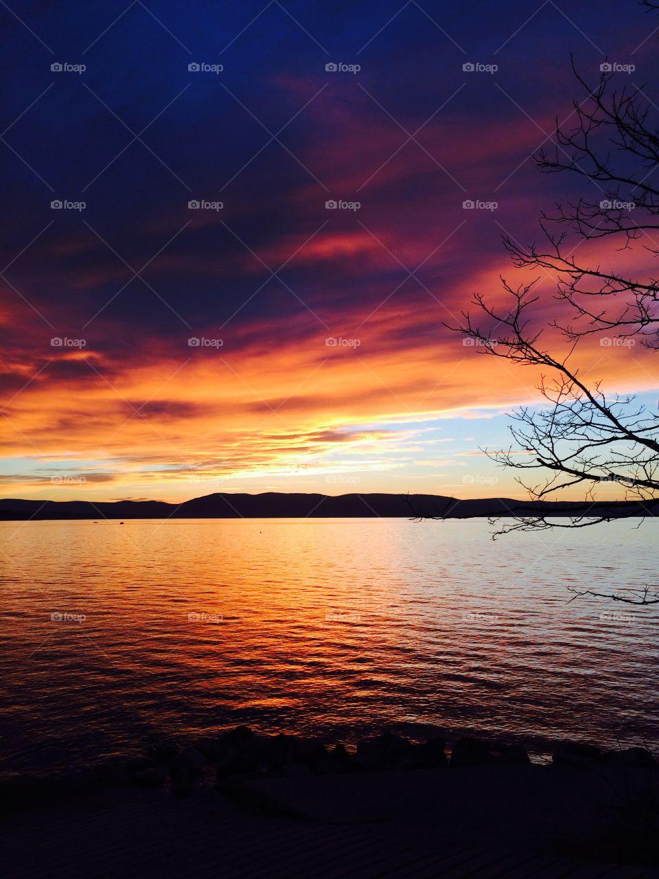Sunset on Krk. Winter sunset on Krk Island in Croatia