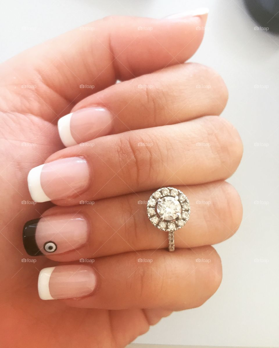 French manicure with bad eye art