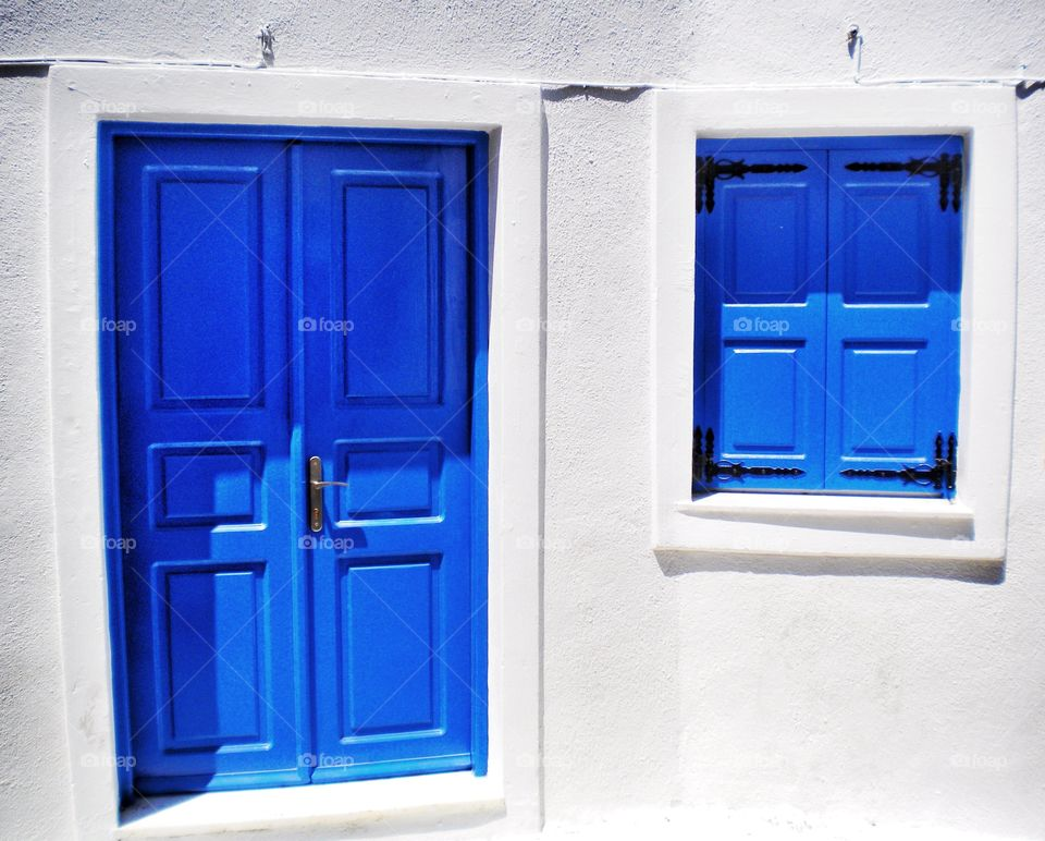 Blue door with white background