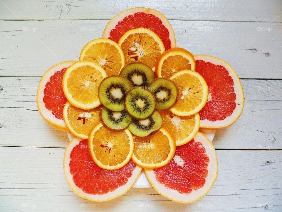 kiwi, orange, grapefruit