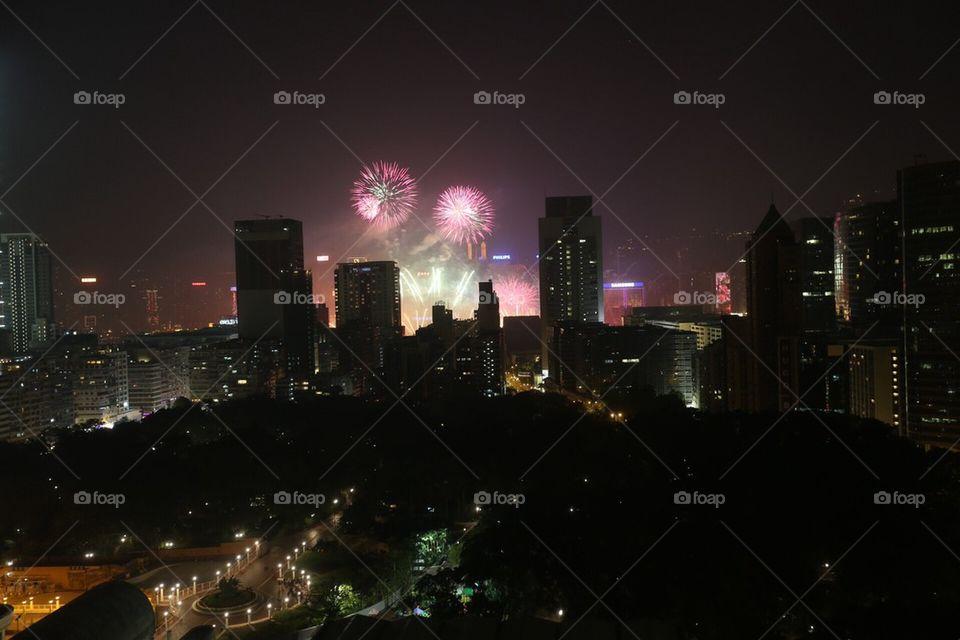 Hong Kong New Years fireworks 2014