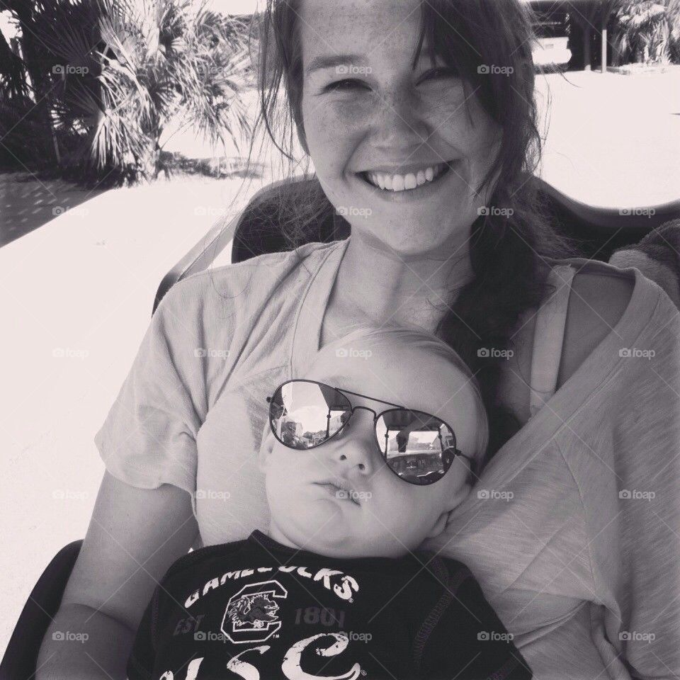 Cool baby and proud mommy