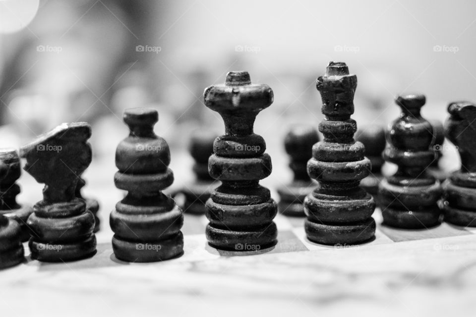 Chess Pieces in Black and White