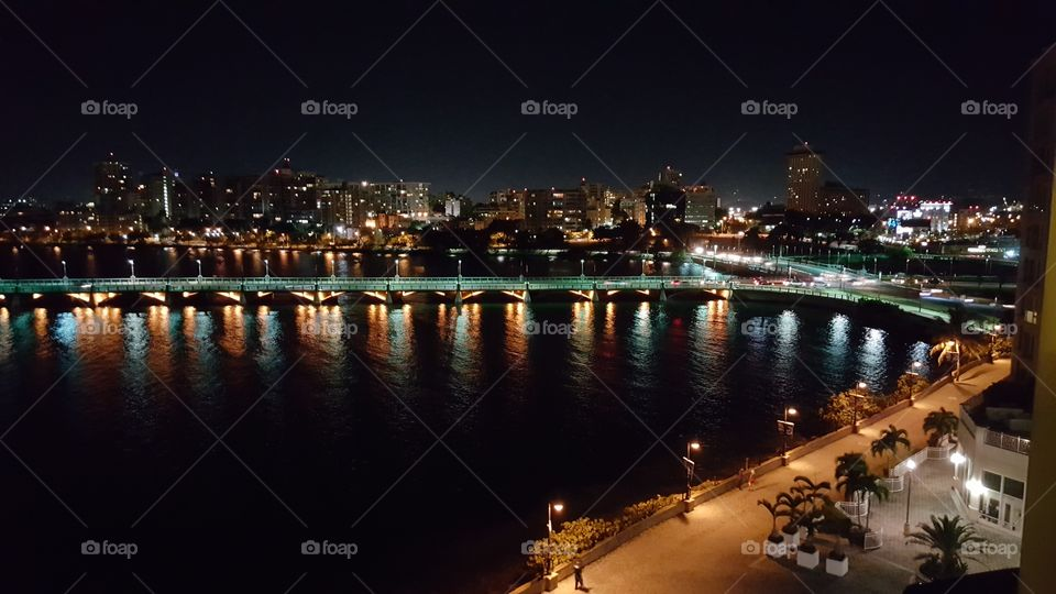 View of a city at night