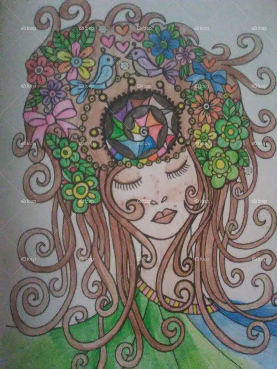 beautiful goddess of nature and love colored by me (Nicole) this free flowing goddess Wii help bring peace into your life.