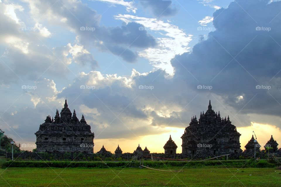 sunset view in plaosan temple, one of some archaelogical site in Jogjakarta, Indonesia