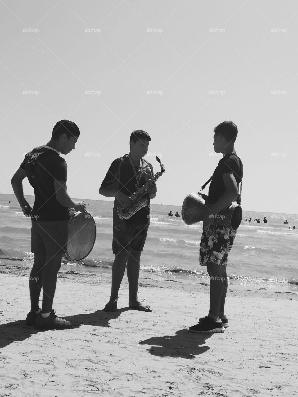 Musicians on Beach