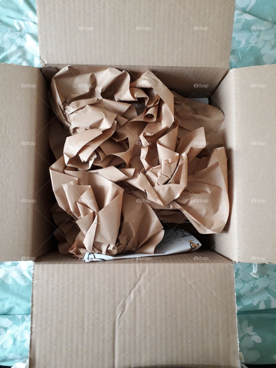 opened box with crunched up brown paper inside