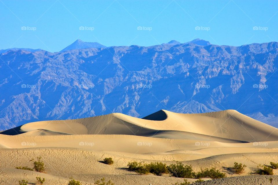 Scenic view of desert | mountain, sand, sky, shadow