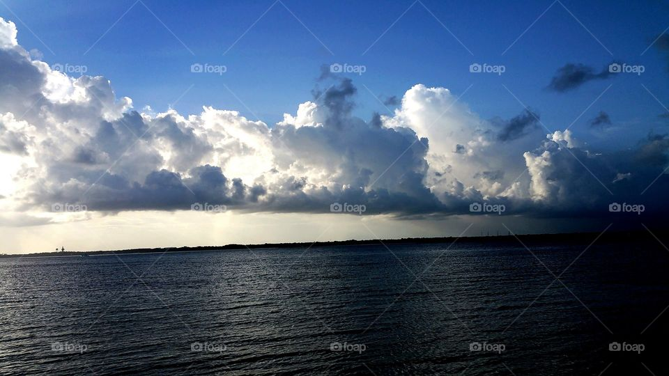 White clouds over the idyllic sea