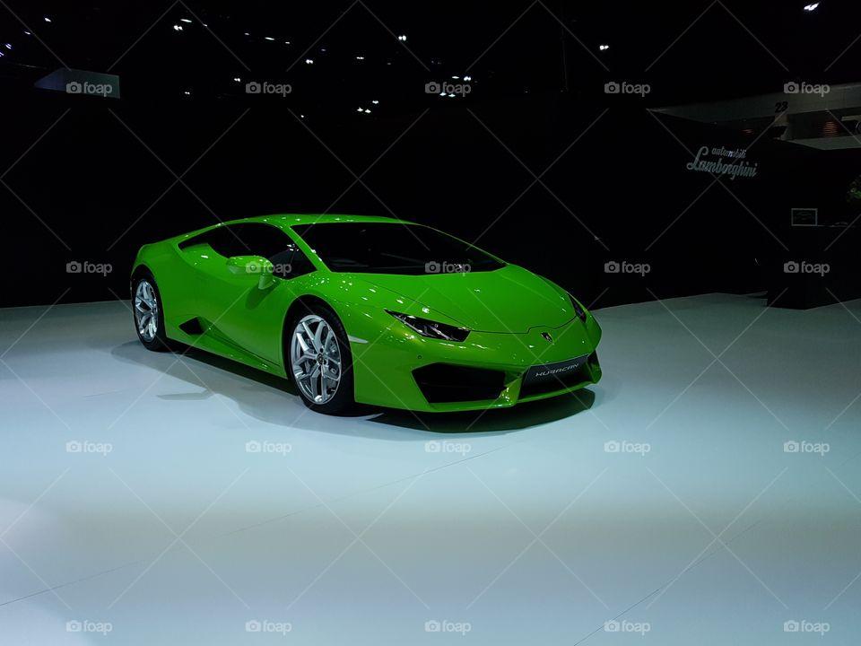 Green supercar Lamborghini Hurracan at Bangkok international motorshow 2017
