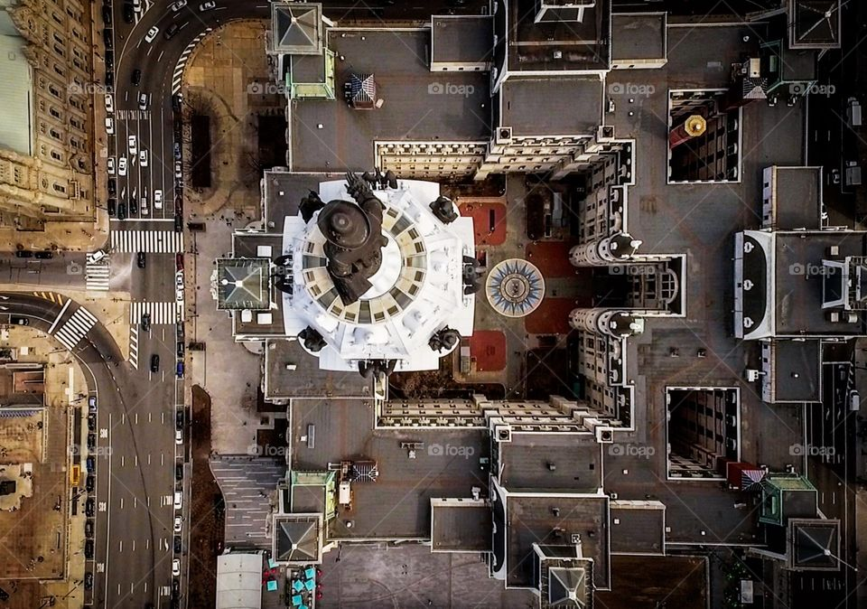 Top view of Philadelphia City Hall from above William Penn's statue.