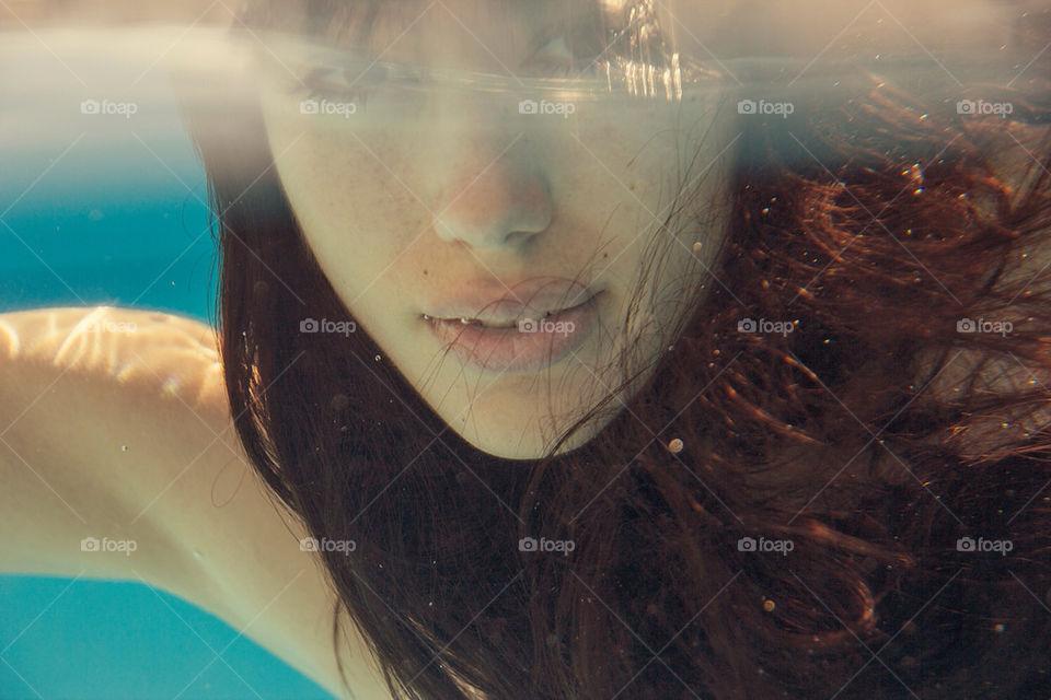 woman   girl, water, portrait, sun