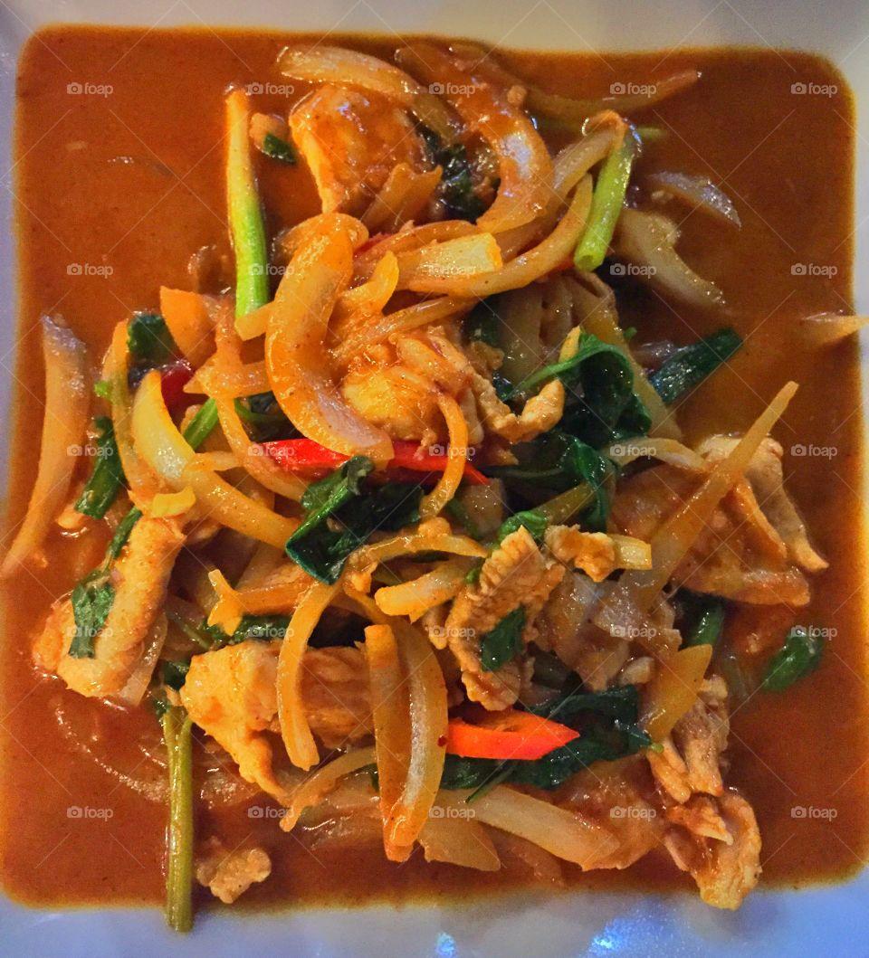 High angle view of thai food