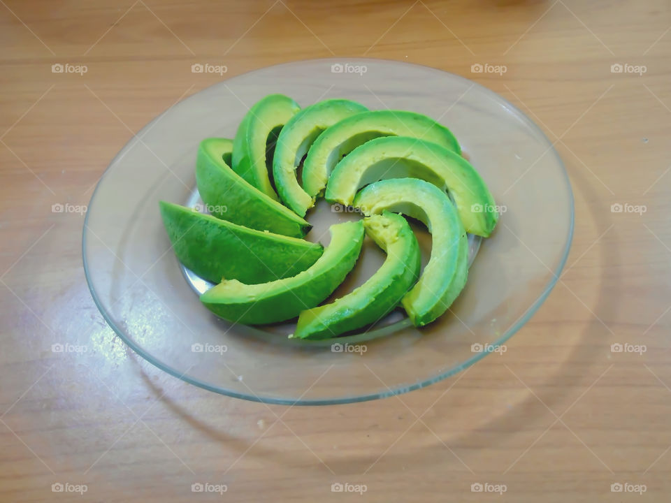 Avocado Pear Slices In Plate