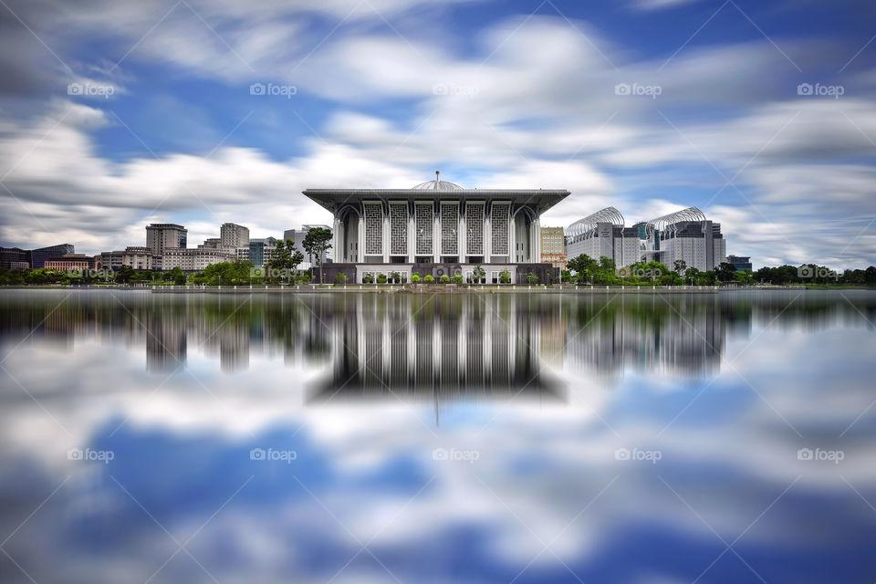 Beautiful reflections of Sultan Mizan mosque in Putrajaya Malaysia
