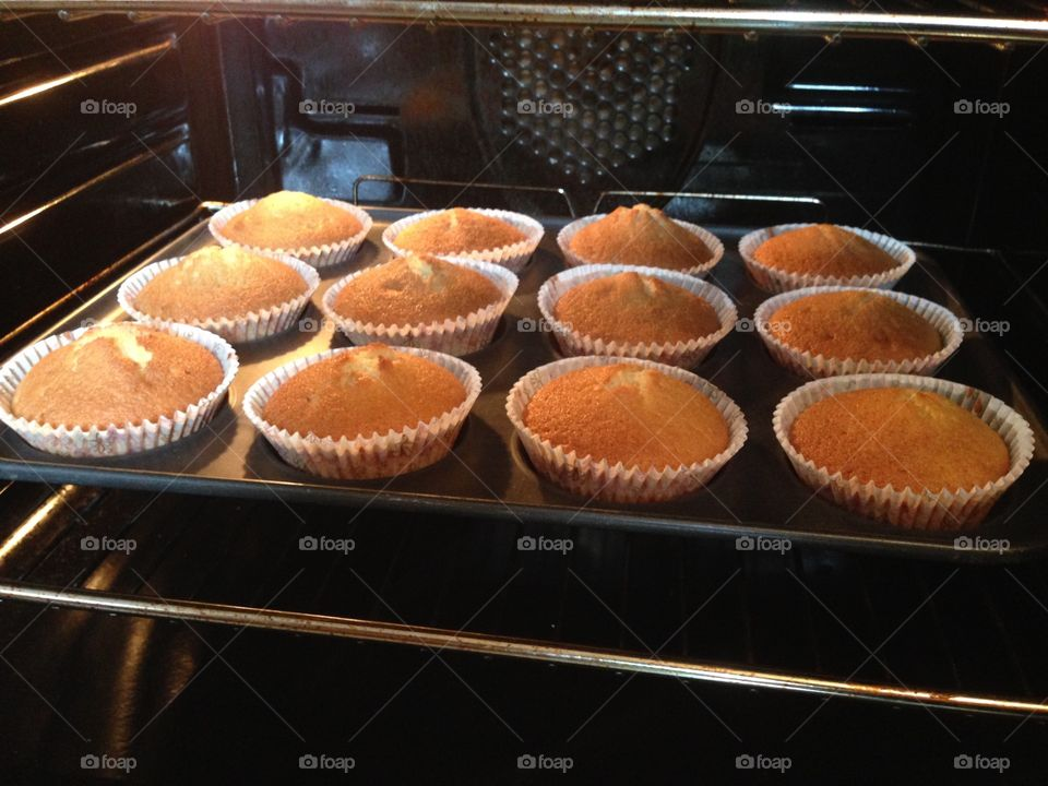 Cupcakes baking in the oven