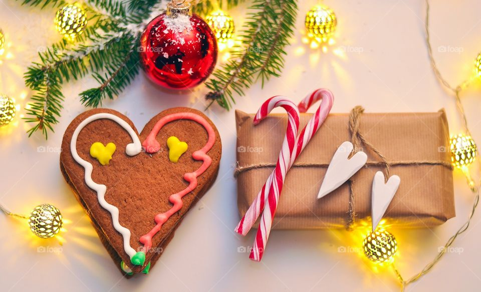 Christmas presents with gingerbread cookie