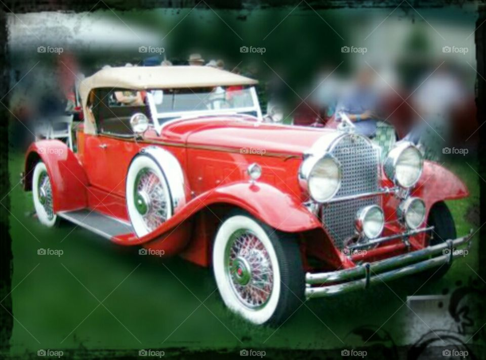 red cabrio classic car with white tyres