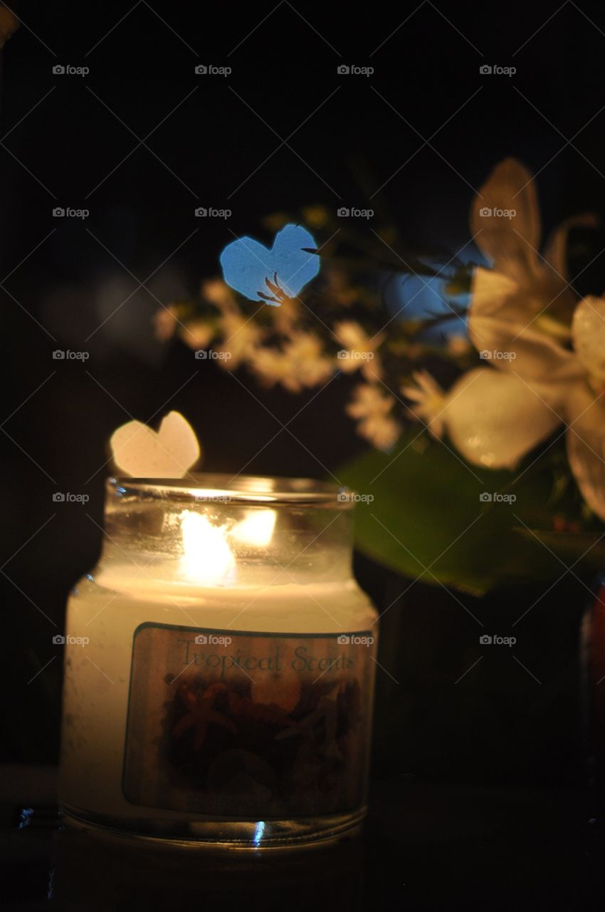 Candelit. Flowers and candles