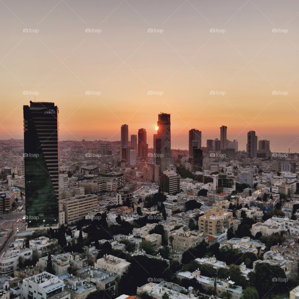 Winter sunset in Tel Aviv
