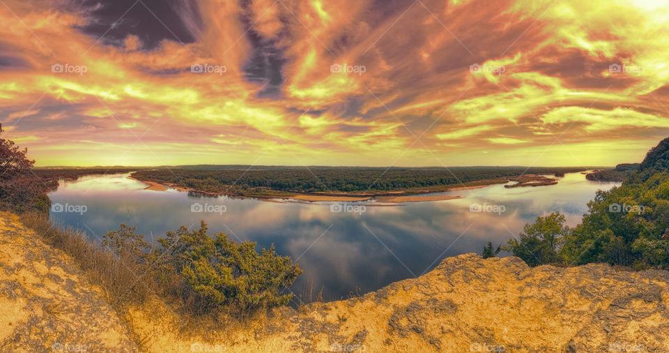 Surreal Twilight Overlooking River Valley