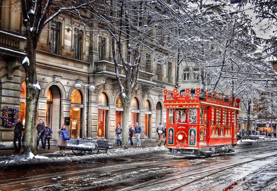 Christmas in Zurich. Children's Christmas tram in Zurich, Switzerland